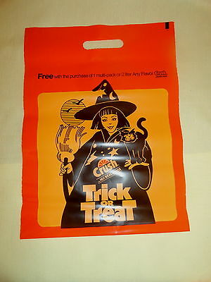 6 Vtg Plactic Halloween Treat Or Treat  Bags Orange Crush Advertizing Give Aways