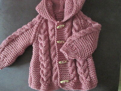 new hand knitted   aran  cardigan/jacket 3/6 months months