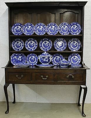 Antique English Period William & Mary Solid Oak Welsh Dresser Cabriole Leg C1690