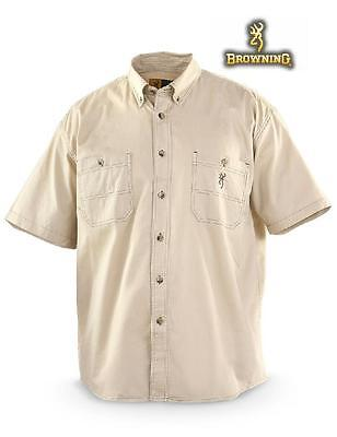 Large BROWNING BUCKMARK Button Down Short Sleeve TRAIL SHIRT *Natural Camp Tan