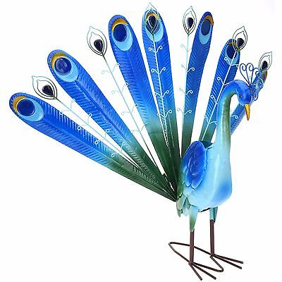 Decorative Peacock Outdoor Garden Weather Resistant Metal Pond Lawn Ornament