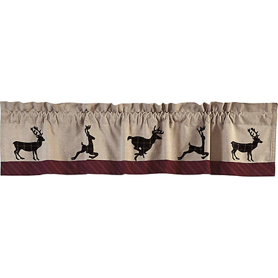 New Primitive Rustic Hunting Cabin Lodge BUCK DEER Lined Curtain Window Valance