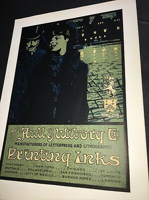 Ault Wiborg Litho Printing INK Poster Sign Original C1900 Night Time Couple Man