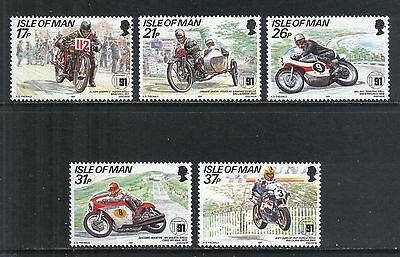 Isle of Man 1991 Tourist Trophy Anniv--Attractive Sports Topical (472-76) MNH