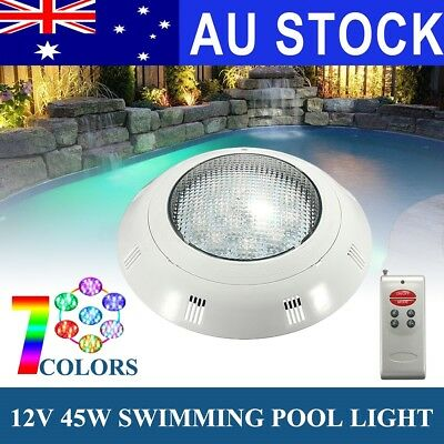 AU 7 Colors 45W 12V LED RGB Wall Mounted Underwater Swimming Pool Light w/Remote
