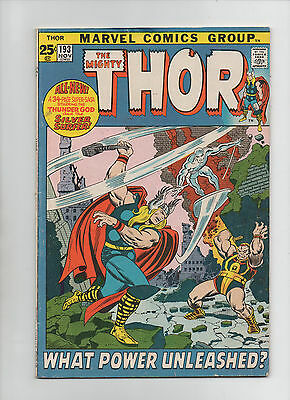 Mighty Thor #193 - What Power Unleashed? - Silver Surfer App - (5.0) 1971