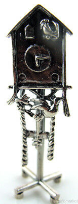 Miniature Sterling Silver Standing Birdhouse Cuckoo Clock #506