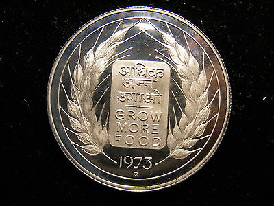 India-Republic 10 Rupees, 1973-B, F.A.O., Silver Proof, COIN ONLY