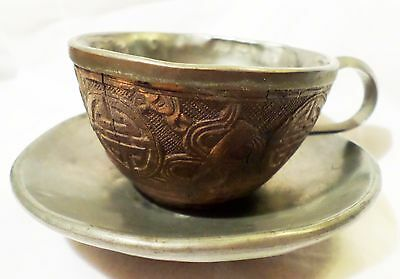Antique Chinese Carved Lacquer Cinnabar & Silver Tea Cup & Saucer