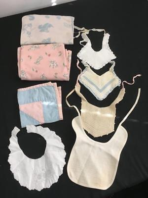 Vintage baby bibs burping pads crocheted LOT 8 doll lamb pink blue