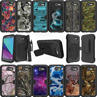 For Samsung Galaxy J3 Eclipse | J3 Mission (2017) Case Holster Clip Stand Camos