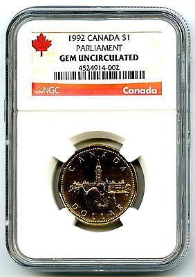 1992 Canada $1 Parliament Confederation Ngc Gem Uncirculated Dollar Loon Loonie