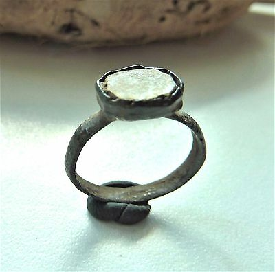Medieval bronze ring with glass insert (197).
