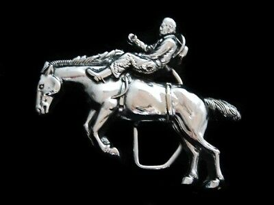 Nf13130 *nos* Vintage 1979 **rodeo Cowboy** Chrome Over Solid Brass Baron Buckle