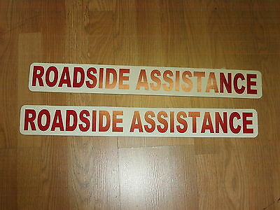 """RED 2 ROADSIDE ASSISTANCE Magnetic Signs 3""""x24"""" 1 Pair 4 Car Truck SUV Van"""