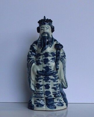Antique c.1900 Chinese Blue & White Porcelain Immortal w/ Ruyi Statue-Signed