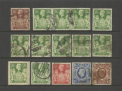 U.K. GREAT BRITAIN ~ 1939-1948 KING GEORGE VI 2/6d TO £1  (POSTALLY USED)