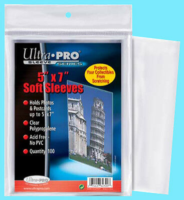 "100 ULTRA PRO 5""x7"" PREMIUM SOFT SLEEVES Fit Topload Photo Clear Poly No PVC 5x7"