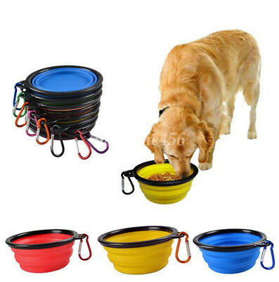 Portable Pet Dog Cat Bowl Tableware Silicone Water Food Folding Telescopic Bowl