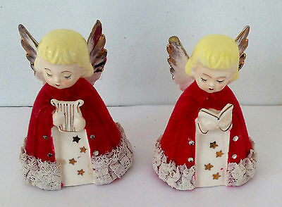 vintage unusual 2 christmas angel figurines w flocked robes made in japan - Christmas Angel Figurines