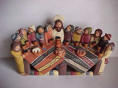 LAST SUPPER folk art Figurine Mexican religious clay pottery Jesus & Apostles