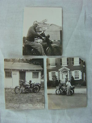 Lot of 3 Vintage Photo 1930s Indian Motorcycle 794103