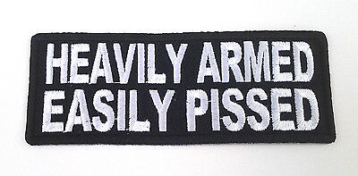 HEAVILY ARMED EASILY PISSED  Pro Trump Pro-Gun Biker Patch P3397 E