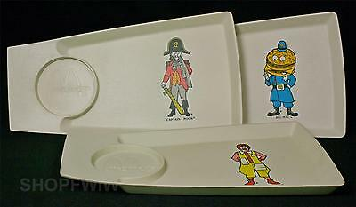 3 Vintage McDonald's Plastic Food Trays With Drink Holder 1970s
