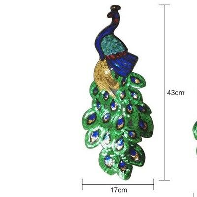 Hot Elegant Sequin Peacock Embroidery Fabric Large Applique Patch Sew Dress DIY