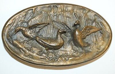 Vintage 1970s Solid Brass DUCK Hunting Hunter's Beautiful 3D Oval Belt Buckle NM
