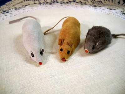 3 Cute Suede or Leather & Fur Mouse Mice Collectible Figurines