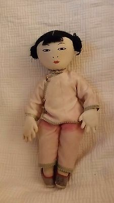 """VINTAGE JAPANESE ALL CLOTH DOLL silk clothes claw like hands 10 1/2"""""""
