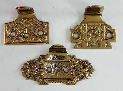 3 Vintage Shiny Brass Hook Sash Lifts Assorted Window Hardware