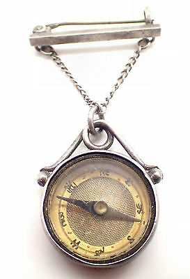 Lovely Sterling Silver Vintage Compass by Charles Daniel Broughton, B'ham, 1898