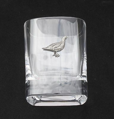 Grouse Sitting Pair of Crystal Tumblers Pewter Motift Presentation Box