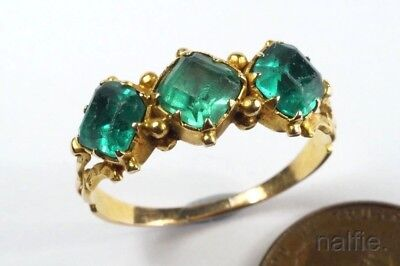 ANTIQUE ENGLISH 15K GOLD EMERALD PASTE RING c1830