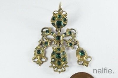 ANTIQUE EUROPEAN SILVER EMERALD PASTE GIRANDOLE SINGLE EARRING c1780