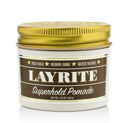 Layrite Superhold Pomade (High Hold, Medium Shine, Water Soluble) 120g