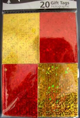 40 Holographic Christmas Birthday Present Gift Wrap Xmas Tags Gold Red