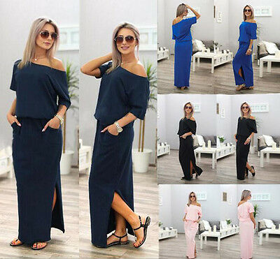 Women's BOHO Long Maxi Evening Cocktail Party Summer Beach Dress Sundress Pocket