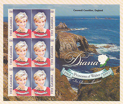 (74234) Gambia MNH Princess Diana Death Cornwall Coast minisheet 1997