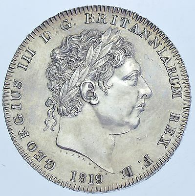 1819 LIX CROWN, BRITISH SILVER COIN FROM GEORGE III aBU