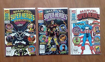 3 Issues Of Marvel Super-Heroes 80 Pages Iron Man Moon Knight Hulk 1990 All Fine