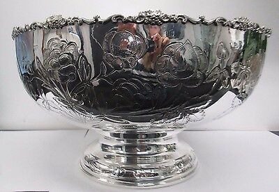 An Impressive Large Italian Sterling Silver Punch Bowl