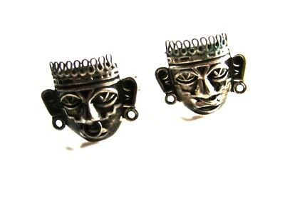 Mexican Sterling Silver Aztec or Mayan Head Cufflinks Old Eagle Mark 1 12815