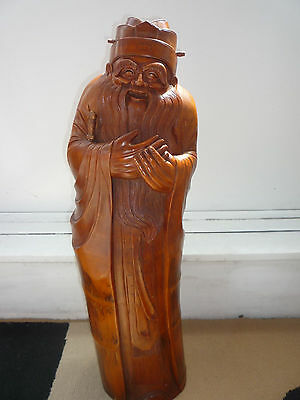 """Large Antique/Old Chinese Bamboo Made Hand Carved Old Man Figure Statue - 26""""(H)"""