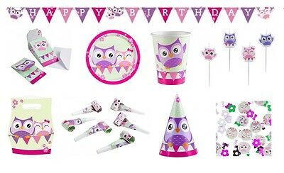OWLS Birthday PARTY NEW Tableware Balloons Decorations Supplies (Pink/Birds)