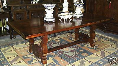 Antique Style Country French Eight Foot Solid Hardwood Dining Table Seats Ten