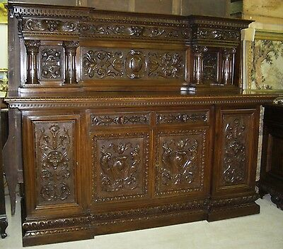 Antique Country French Walnut Hand Carved Buffet Credenza  with Columns C 1860