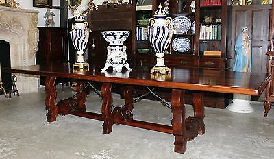 Antique Style Country French Handmade 12 Feet Hardwood Dining Table Seats 12